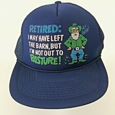 Retired Left The Barn But Not Out To Pasture Trucker Cap Hat Mesh Blue Snapback