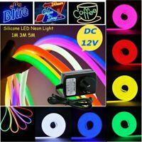 Neon LED Light Glow EL Wire String Strip Rope Tube Decor Car Xmas 1-5M+Power