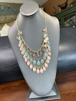 Vintage Long Sweater Necklace Three strand Pink Shaded Teardrop charm Tone 24""