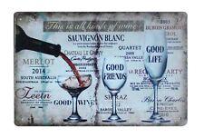 home wall decor wine Sauvignon Blanc Alcoholic Drinks tin metal sign