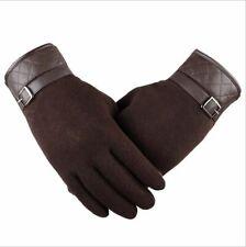 Men's Touch Screen Gloves Winter Warm Wool Leather Wrist Soft Cashmere Mitten