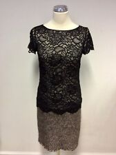 MARCCAIN BLACK LACE & BROWN MARL WOOL SKIRT PENCIL DRESS SIZE N1 UK 8/10