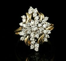 TRU GLO SIGNED VINTAGE ROUND NATURAL 1.0ctw DIAMOND SOLID 14K GOLD CLUSTER RING