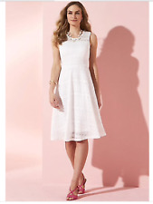 Kaleidoscope Size 8 White Lace Skater DRESS Summer Holiday Occasion Party £45