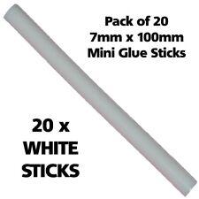 20 WHITE Colour 7mm 100mm Long Hot Melt Glue Gun Sticks Adhesive Hobby Craft