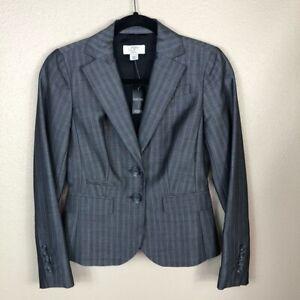 NWT Ann Taylor LOFT Petites Womens Gray Pinstripes Lined Gray Blazer 00P