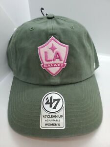 Los Angeles LA Galaxy '47 Clean Up Women's Army Green & Pink Strapback Hat - New