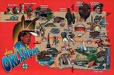 Oklahoma, OK City, Tulsa, Cherokee Strip, Indian, Cowboy etc. State Map Postcard