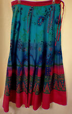 Geeta Gypsy Sequined Floral Border Print Full A-Line Skirt Boho Style One Size