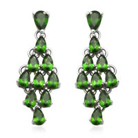 Platinum Plated 925 Sterling Silver Chrome Diopside Drop Dangle Earrings Ct 5