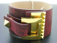 """$88 Vince Camuto *Tour Of Duty* Studded Buckle Wrap Red Leather Bracelet 1-5/8"""""""