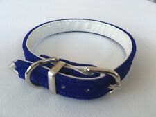 NEW Gorgeous BLUE VELVET COLLAR size XXS 18 - 22cm Tiny Dog Puppy Leather Lined