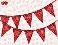 Heart Pattern Valentines Day Themed Bunting Banner 15 flags by PARTY DECOR