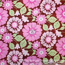 BonEful Fabric FQ Cotton Quilt Brown Pink Flower Green Leaf Girl Toile Cottage L