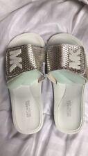 Michael Kors MK Slide Casual Sandals White Silver UK4