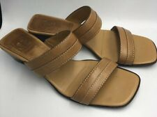 COLE HAAN SHOES LIGHT BROWN LEATHER OPEN TOE SLIDES SIZE 8B MADE IN BRAZIL