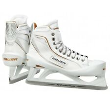 New Bauer One100LE Ice Hockey Goalie skates size 8.5D senior white/gold men SR