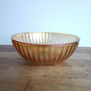 Marigold iridescent carnival glass ribbed bowl 8 inches diameter shabby finish