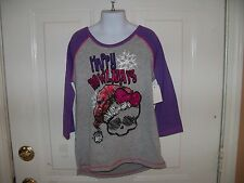 Monster High Gray & Purple 3/4 Sleeve T-shirt  Size M (7/8) Girl's NEW LAST ONE