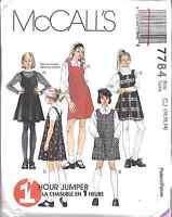 7784 UNCUT McCalls SEWING Pattern Girls A Line Jumper Dress School Fall Winter