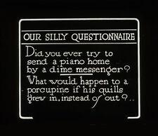 Lantern Slide, Silent Movie Humorous Piano Dime Messenger & Porcupine Quip 1920s