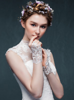 Short Rhinestone Bridal Lace Gloves Wedding Accessories Embroidery White Ivory
