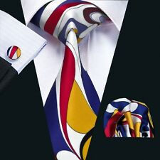 New Floral Prints Mens Tie Hanky Cufflinks Blue&Yellow&Red Silk Neckties SN-1230