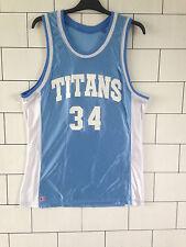 Urban Vintage Azul y Blanca Swingman Baloncesto Jersey Top de gran tamaño de Reino Unido medio