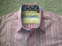 ROBERT GRAHAM Medium Red Shirt - Striped Embroidery Geometric Collar/Flip Cuff