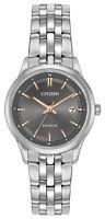 Citizen Eco Drive Women's Black Dial Silver Tone Bracelet 28mm Watch EW2400-58H