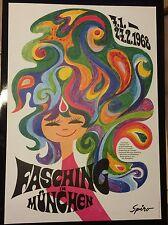 ORIGINAL PLAKAT FASCHING MÜNCHEN 1968 ENTWURF SPIRO POP ART