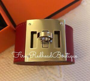 Hermès Kelly Dog Cuff / Bracelet - Rouge Vif Swift w/ palladium h/w - BNWT!