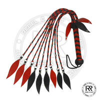 Genuine Real Leather Flogger Steel Studded Red & Black whip 09 Tails