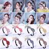Women Grid Rabbit Ear Bow Knot Hairband Headband Wide Hair Band Hoop Accessories