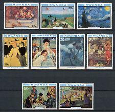 Rwanda 1980 MNH Impressionist Paintings Van Gogh Monet Renoir Cezanne 9v Stamps