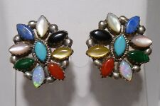 Multi Stone Satellite Cluster Flower Earrings Sterling Turquoise Lapis MOP Coral