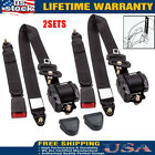Retractable 3 Point Safety Seat Belt Straps Car Auto Vehicle Adjustable Belt x2