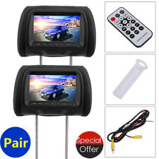 "Black 2x HDMI 7"" HD Car Headrest Monitor 1080P Pillow DVD Player Headsets NEW"