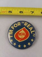 "Vintage I'm For ""REAL"" Cheese Dairy Advertising pin button pinback *EE78"