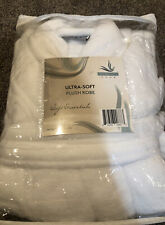 Serenity Home Ultra- Soft Plush Robe White One Size Fits All