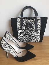 Karen Millen Black Suede & Animal Print Shoes 39.5