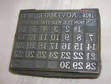 "Vtg 1926 Letter Press 30 Day Calendar Stamp Printing 3 1/8"" X 2 1/4"" November"