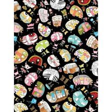 by 1/2 Yard Loralie Designs Fabric Vintage Holiday Trailer Toss Black RV Camper