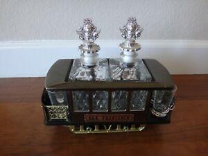 Vintage San Francisco Trolley Music Box Bar Liquor Decanter w/ 4 Shot Glasses