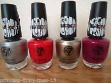 4 x W7 crackle nail polish in earthquake silver, red, pewter & crimson - 4 x15ml