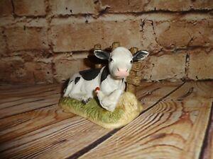 HOME INTERIOR HOMCO VINTAGE COW CALF/CHICKEN PORCELAIN FIGURINE #1469