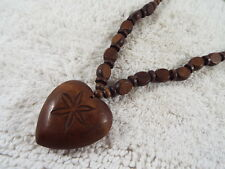 Brown Wood Heart Pendant Bead Necklace(C54)