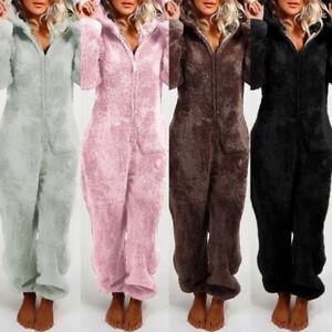 Damen Plüsch Schlafanzug Hausanzug Pyjama Kapuzen Nachtwäsche Overall Anzug Warm