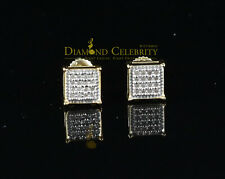10K Yellow Gold Finish with Real Diamond Square Men's silver Stud Earrings