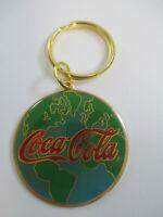 Coca-Cola Metal Enamel World Globe Keychain Red Script Logo Vintage 1992 NOS